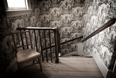 Staircase with Toile Wallpaper