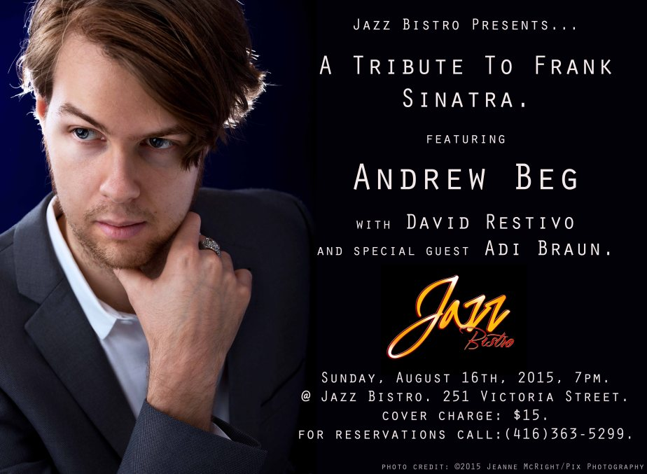 Jazz poster portrait of jazz singer andrew Beg by Jeanne McRight