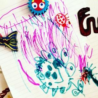 Child's garden drawing fridge art